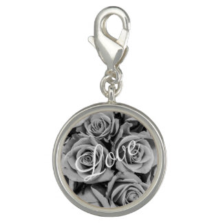 Breloque Avec Photo Charme monochromatique d'amour de roses