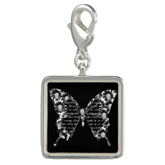 """Breloque Avec Photo Pendentif carré """"Papillon"""", noir et blanc"""