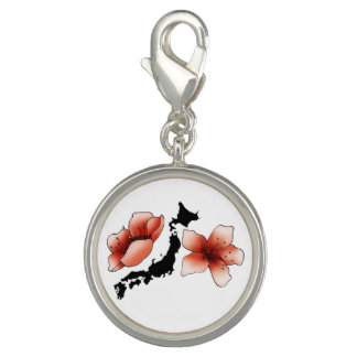"""Breloque Avec Photo Pendentif rond spécial """"Japon"""", carte et fleurs"""