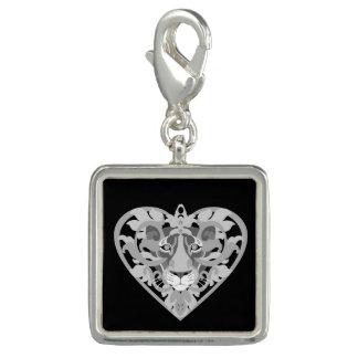 Breloque Charme carré de pendentif de lionne d'amour (noir