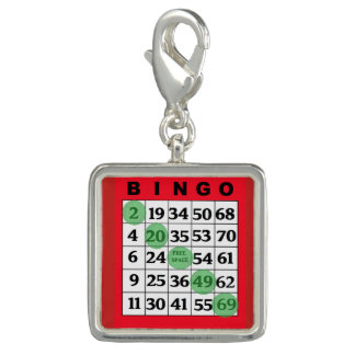 Breloque Charme chanceux de carte rouge de BINGO-TEST