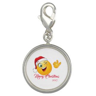 Breloque Charme de plat argenté d'Emoji Père Noël de Joyeux