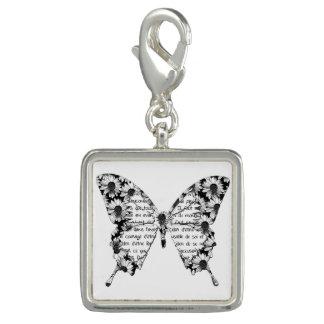 """Breloque Pendentif carré """"Papillon"""", noir et blanc"""