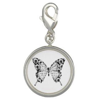 """Breloque Pendentif """"Papillon"""" blanc, écriture, fleurs"""
