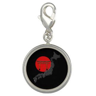 """Breloque Pendentif rond spécial """"Japon"""", fond noir"""