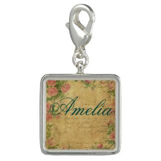 Breloque rustique, Parchement, porté, floral, lettres, cru,