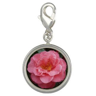Breloques Avec Photo Bijoux roses de charme de fleur de camélia