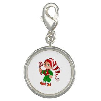 Breloques Avec Photo Charme de plat argenté d'Elf de Joyeux Noël