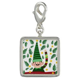Breloques Avec Photo Petit Noël heureux Elf dans le chandail vert