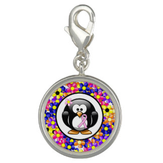 Breloques Avec Photo Pingouin rose de ruban