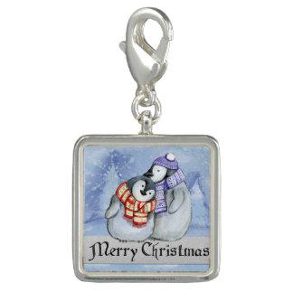 Breloques Avec Photo Pingouins doux d'hiver de Joyeux Noël petits