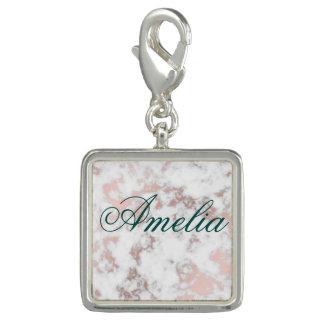 Breloques blanc, marbre, or rose, moderne, chic, beau, eleg