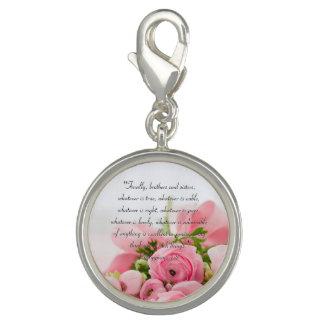 Breloques Bouquet de rose en pastel de vers de bible de