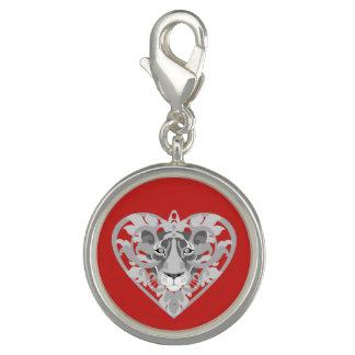 Breloques Charme (rouge) de pendentif de lionne d'amour