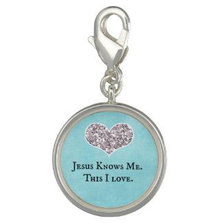 Breloques Jésus me connaît, ceci citation d'amour d'I