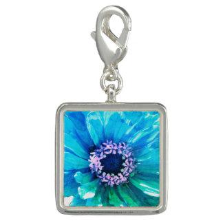 Breloques Marguerite bleue turquoise