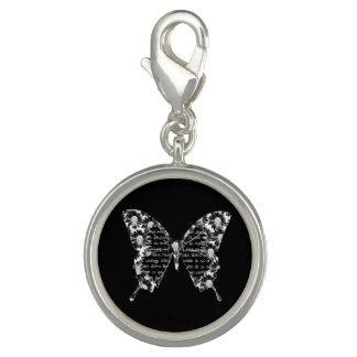 """Breloques Pendentif noir """"Papillon"""" blanc, écriture, fleurs"""