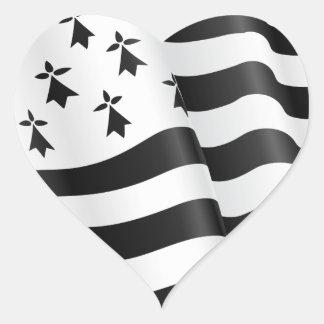Breton de Drapeau (drapeau breton) Sticker Cœur