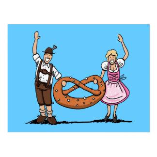 Bretzel bavarois de couples d'Oktoberfest de carte
