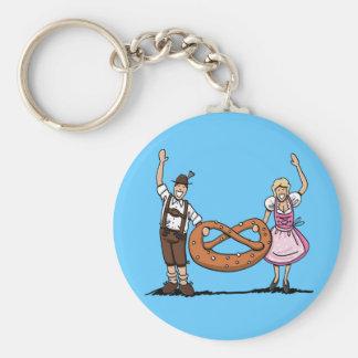 Bretzel bavarois de couples d'Oktoberfest de porte Porte-clé Rond