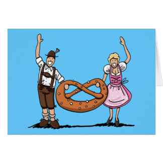 Bretzel de couples d'Oktoberfest de carte de voeux