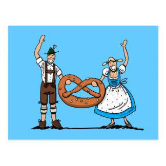 Bretzel de couples d'Oktoberfest de carte postale