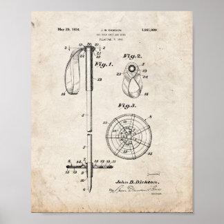 Brevet de poignée et d'anneau de Polonais de ski - Poster
