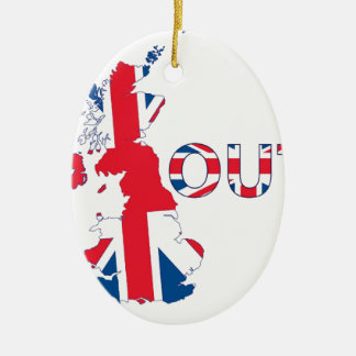 BREXIT UNION JACK ORNEMENT OVALE EN CÉRAMIQUE