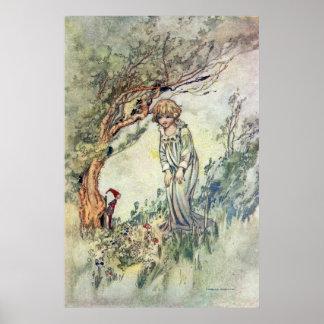 Bridget et gnome par Charles Robinson Posters