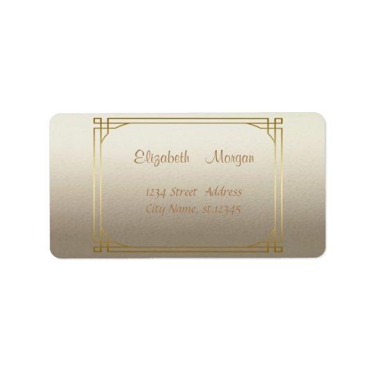 Brillant élégant élégant, cadre d'or de Faux Étiquette D'adresse