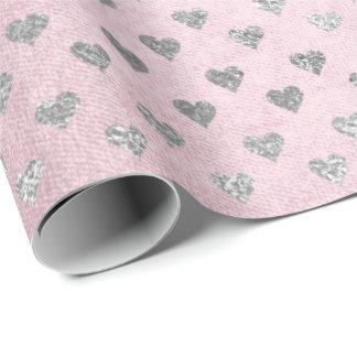 Brillant en pastel de rose fascinant argenté de papiers cadeaux