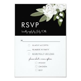 Brins floraux blancs de mariage, carte de menu de carton d'invitation 8,89 cm x 12,70 cm