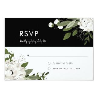 Brins floraux blancs de mariage - RSVP Carton D'invitation 8,89 Cm X 12,70 Cm