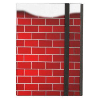 Brique rouge avec la dérive de neige - dessus de