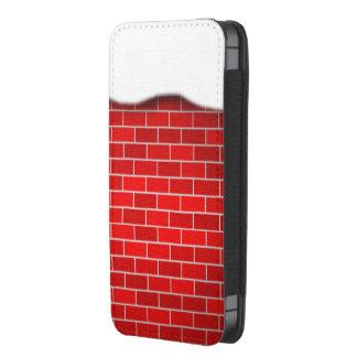 Brique rouge avec la dérive de neige - dessus de pochette pour portable
