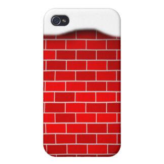Brique rouge avec la dérive de neige - dessus de coques iPhone 4/4S