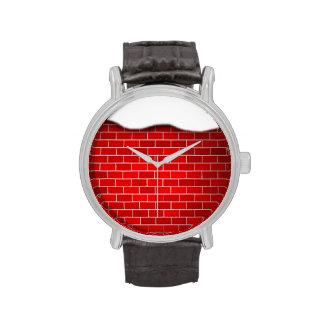 Brique rouge avec la dérive de neige - dessus de montres bracelet