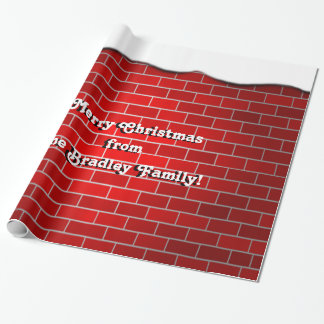 Brique rouge avec la dérive de neige - dessus de papiers cadeaux noël