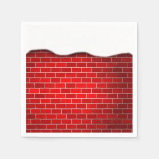 Brique rouge avec la dérive de neige - dessus de serviettes en papier