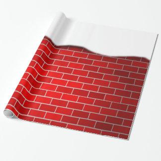 Brique rouge avec la dérive de neige papier cadeau noël