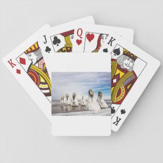 Brise-lames sur la côte de mer baltique jeu de cartes