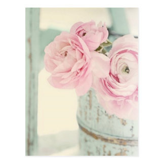 Broc chic minable de fleurs roses carte postale