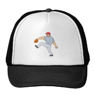 Broc de joueur de baseball prêt à jeter la boule casquette