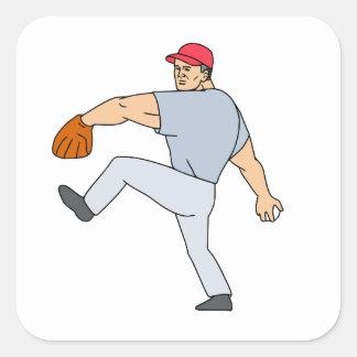 Broc de joueur de baseball prêt à jeter la boule sticker carré