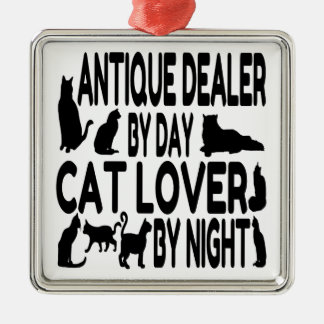 Brocanteur d'amoureux des chats ornement carré argenté