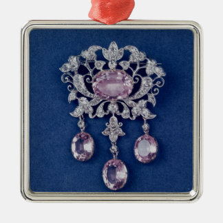 Broche dans la forme d'une fleur, c.1780 ornement carré argenté