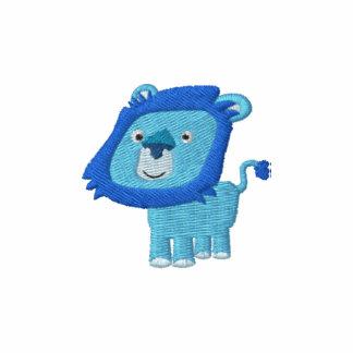 Broderie bleue de lion de bande dessinée mignonne polos