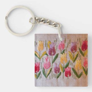 Broderie de cru de tulipes porte-clé carré en acrylique double face