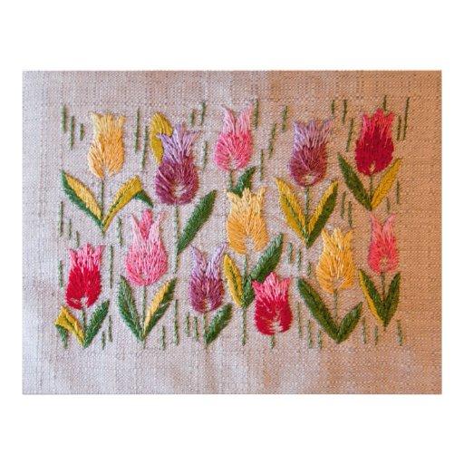Broderie de cru de tulipes prospectus en couleur