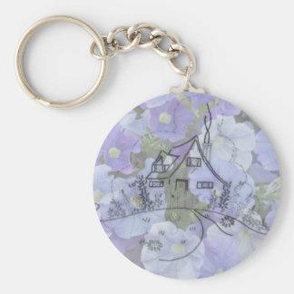 Broderie et pétunias de cottage porte-clef